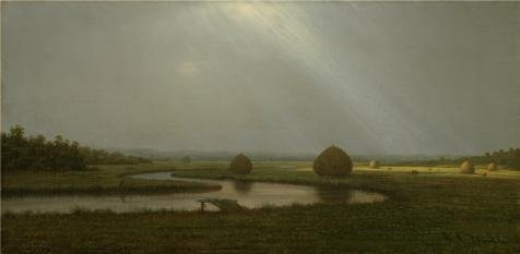 Perfect Effect Canvas ,the Beautiful Art Decorative Prints On Canvas Of Oil Painting 'Martin Johnson Heade,After The Rain In The Salt Marshes,about 1874', 16x33 Inch / 41x83 Cm Is Best - Charles Johnson Pattern Box