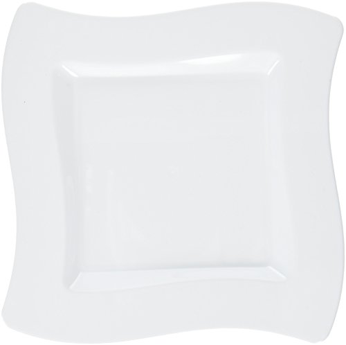 Fineline Settings 10-Piece Wavetrends Square-Wave China-Like Plate, 6.5-Inch, White