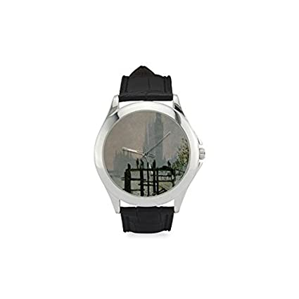 Birthday Gifts Classic Claude Monet London Harbor Picture Fog Womens Leather Strap Watch