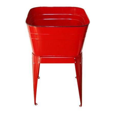 Red Enamel Standing Wash Tub