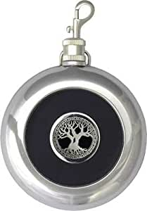 """8oz """"Celtic Tree of Life"""" Black Target Flask with Built-in Shot and Keychain"""