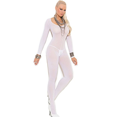 Ezcosplay Costumes (Musamk VoluptuousHot Sexy Lingerie Bodysuit Sexy Costumes Women Bodystocking Open Crotch Sex Products Erotic Lingerie Stockings WhiteOne Size)