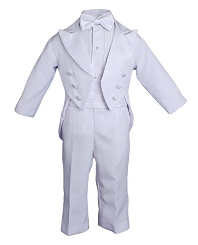 Baby Boys? Formal White Poly Cotton 5 Piece Classic Tux Set with Tail - 9M