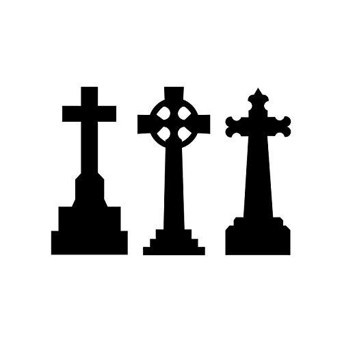 Set of 3 Vinyl Wall Art Decal - Tombstones - 30