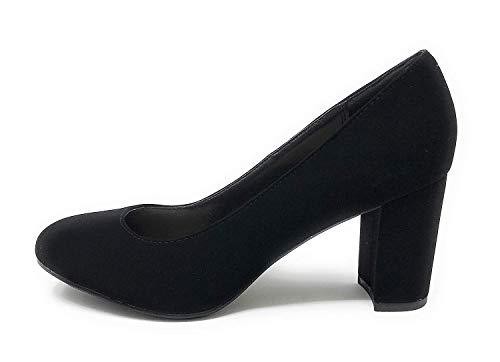 City Classified Comfort JDPatty Women's Round Toe Chunky Block Mid Heel Pump (6 M US, Black NB) -