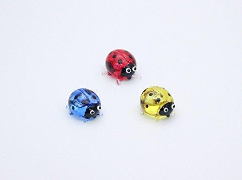 (ChangThai Design Miniature Hand Blown Art Glass Ladybug Figurine Animal Hand Paint Blown Glass Decorate Collectible)