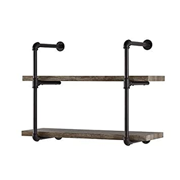 Amazon Com Danny B Gh072 Two Tier Floating Metal Pipe Shelves With