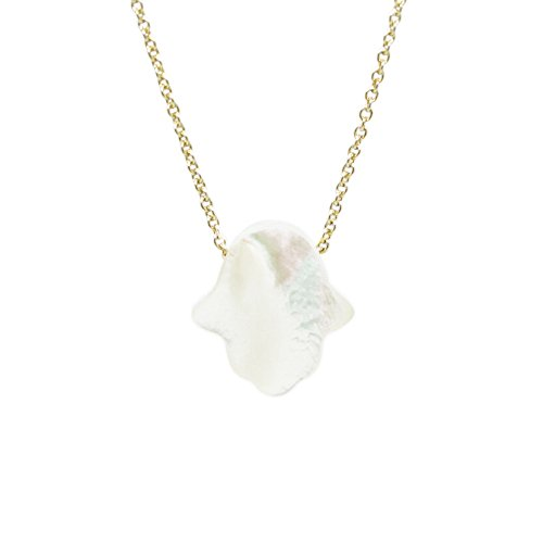 (Created Mother of Pearl Hamsa Necklace Gold Plated Over Sterling Silver 16 Inch +1
