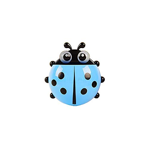 Creative Cartoon Ladybug Wall Suction Cup Mount Toothbrush Toothpaste Holder Pencil Pen Container Box Travel Organizer Plastic Pocket Storage Organizer (Blue)