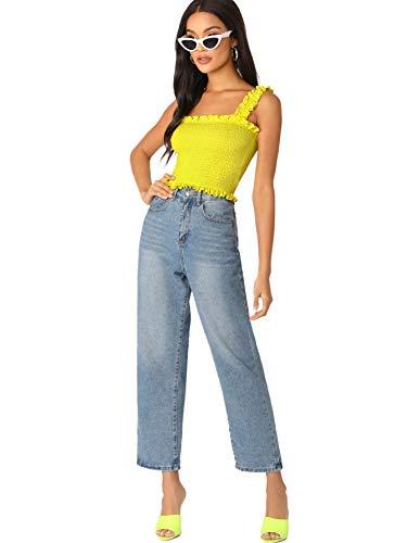 c72c9d4c589 Romwe Women's Neon Frill Trim Strap Shirred Smock Crop Top Vest Tank Cami  Bright-Yellow