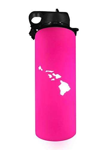 Hydroskins Water Bottle Silicone Hawaii Sleeve for Hydro Flask, Takeya, ThermoFlask, Fifty/Fifty, Simple Modern,Protection & Grip (Neon Pink, 40 ()
