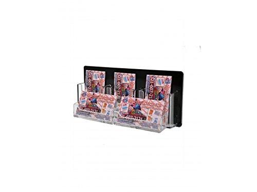 Marketing Holders 5 Pocket Business Card Holder Wall Mount 3 Vertical And 2 Horizontal Business Card Holder, Black Back and Clear Pocket