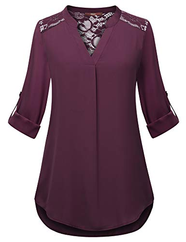 Fit Tab Relaxed Red - Gaharu Womens Blouse for Legging Petites Dressy Shirt for Work Tab Sleeve Split Neck Blouse Relaxed Fit Curved Hem Burgundy Tunic Top Daily Wear Dark Red,XXL