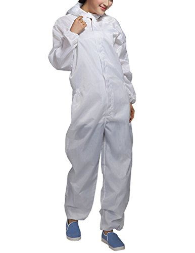 (Olyer ESD Lab Zip Up Hooded Anti Static Jumpsuit Coverall Uniform Spray Paint Work Clothes (XXL, White))