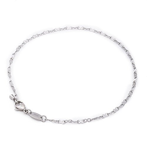 316L Stainless Steel Infinity Ribbon Link Chain - 2MM - Anklet for Women & Girls 9 Inch (Bracelet Ankle 9 Inch)