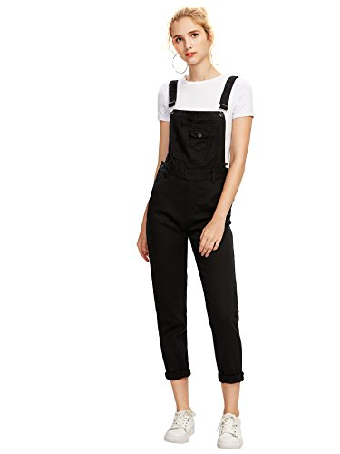 Verdusa Womens' Casual Adjustable Strap Ripped Denim Overalls Jumpsuit Black L