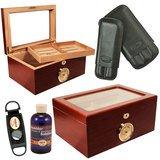 Display Cigar Humidor Presidente Set / Cigar cutter/ Cigar Case (Cuban Crafters Humidor)