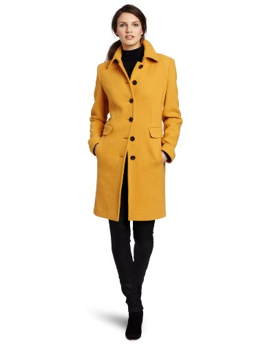 Calvin Klein Women's Mid-Length Single Breasted Wool Coat, Mustard, 8