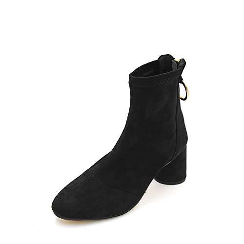Coarse with female boots Round Head elastic shoe minimalist style Stretch Wool boots, wear solid colors with bold, Black,37