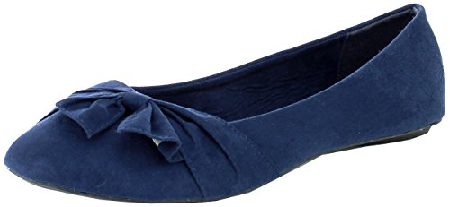 Refresh Footwear Womens Almond Toe Bow Accent Ballet Flat Navy