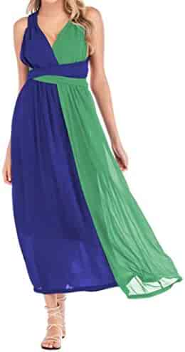 Abetteric Women Short-Sleeve Spell Color Baggy Open Back Mid and Maxi Dress