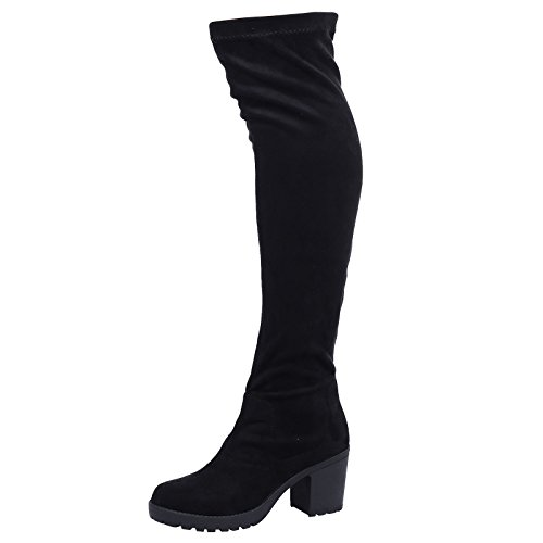 WOMENS LADIES MID PLATFORM WEDGE HEEL KNEE HIGH BOOTS SIZE Style A - Black Faux Suede jIxkw