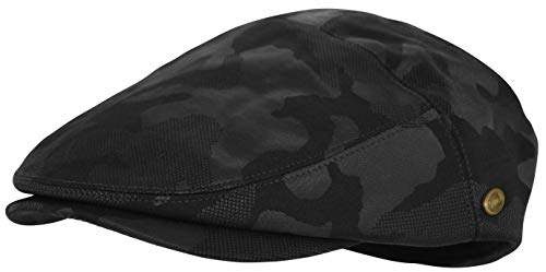 Men's Thick Cotton Summer Newsboy Cap SnapBrim Ivy Driving Stylish Hat (Camo Black-2929, L/XL) -