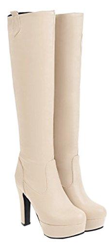 Size Beige Over Thigh Ladies The VECJUNIA Boots Block Knee 8 High 2 Heels High Party UK Stretch n4HaZZxq