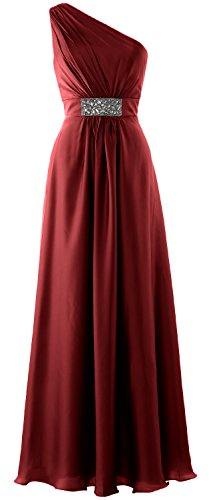 MACloth Women One Shoulder Bridesmaid Dress 2017 Long Wedding Party Formal Gown Burgundy