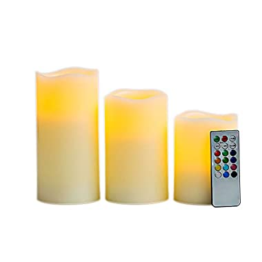 Real Wax Wave Edge Flameless Candles with Remote Control Timer, 3 Candle Set Changing 12 Color