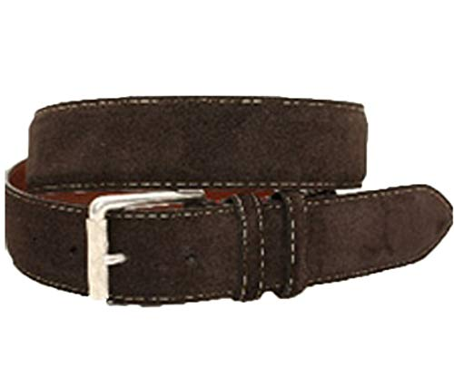 (Torino Leather European Suede Calfskin Belt - Brown 38)