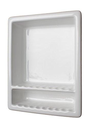 Super 2 Tile Recessed Shampoo Shower Niche Gloss White Shelf Soap by shower-shelf