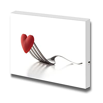 Canvas Prints Wall Art - Concept Image of a Red Heart on a Fork | Modern Wall Decor/Home Art Stretched Gallery Wraps Giclee Print & Wood Framed. Ready to Hang - 16
