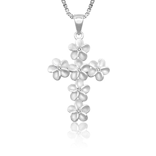 Honolulu Jewelry Company Sterling Silver Plumeria Cross CZ Necklace Pendant with 18