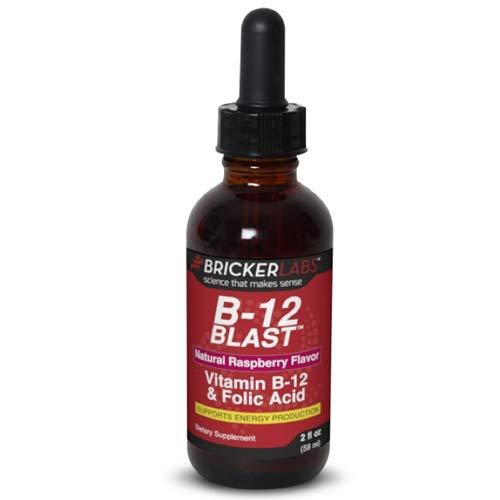 (Bricker Labs B-12 Blast Methylcobalamin Vitamins, Natural Raspberry, 2 Fluid Ounce )