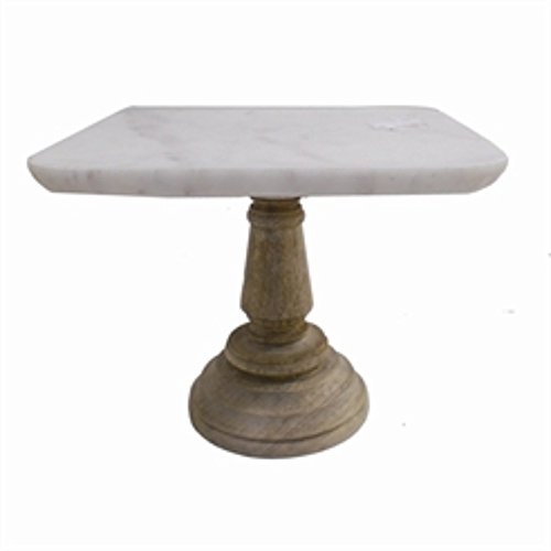 Square Shaped Marble Cake Plate With Wooden Stand, White And (Marble Top Pedestal)