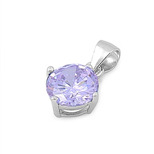 Solitaire Round Pendant Simulated Lavender .925 Sterling Silver Charm - Silver Jewelry Accessories Key Chain Bracelet Necklace Pendants