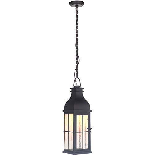 (Outdoor Pendant 1 Light Fixtures with Midnight Finish Glass Material LED 7