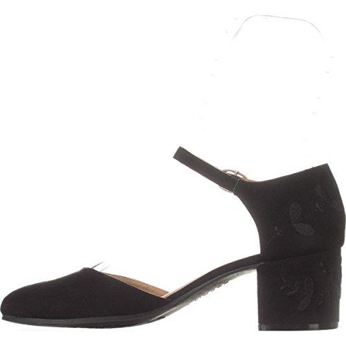 Heel Ellen Block Mary Pump Jane Black Strap Women's Ankle ESPRIT Embroidered 85qwT48