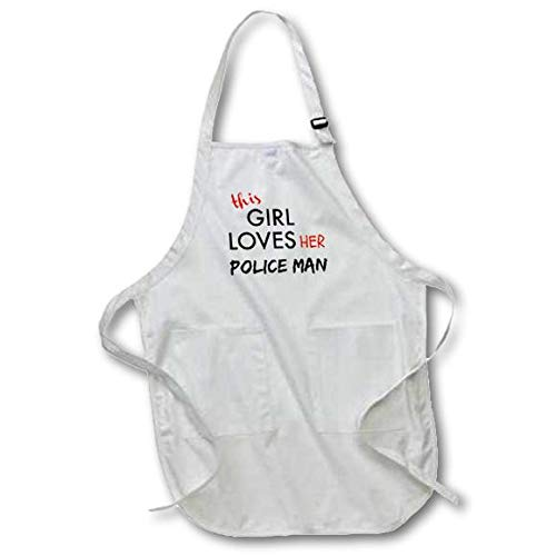3dRose apr/_200618/_2 This Girl Loves Her Police Man Black /& Red Lettering Medium Length Apron with Pouch Pockets 22 by 24