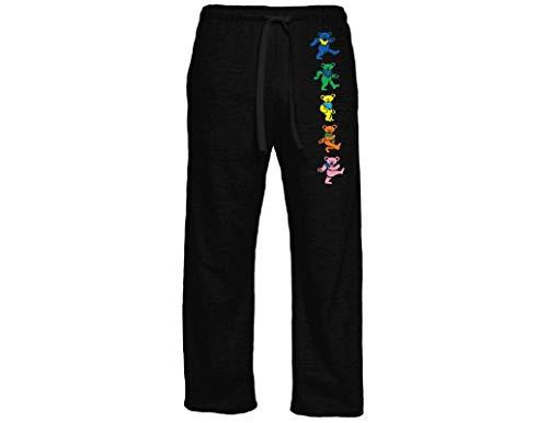 Ripple Junction Grateful Dead Adult Unisex Dancing Bears Vertical Light Weight Pocket Lounge Pants SM Black ()