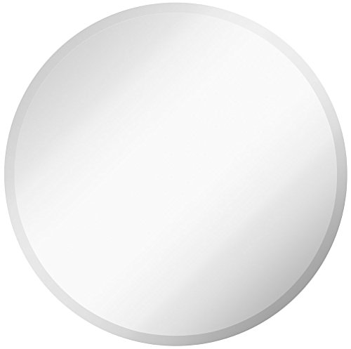 Large Simple Round 1 Inch Beveled Circle Wall Mirror | Frameless 30 Inch Diameter Circular Mirror With a Silver Backed Rounded Mirrored Glass Panel | Best for Vanity, Bedroom, or Bathroom (30