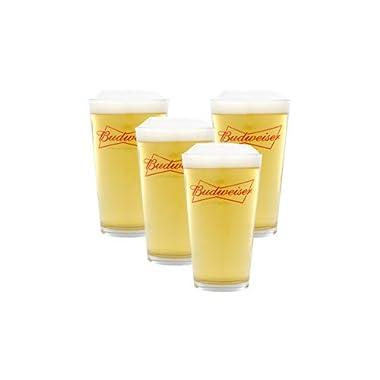Budweiser Crown Logo 16 Oz. Beer Glass (Set of 4 Ea.)