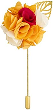 Knighthood Men's Bunch Flower with Golden Leaf Lapel Pin for