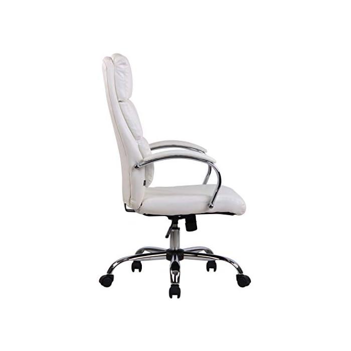 31Ke%2BIeeoBL MATERIALES: La silla ejecutiva cuenta con un agradable acolchado y un tapizado disponible en tela (100% poliéster) o en cuero sintético (100% poliuretano) según su elección. La base está disponible en metal cromado, reistente y fácil de limpiar. CARACTERÍSTICAS: La silla de oficina ofrece una postura ergonómica gracias a su forma y cualidades de asiento, la libertad de movimientos viene dada gracias a su respaldo con mecanismo de balanceo, su asiento giratorio y regulable en altura. La silla de oficina es cómoda y ofrece gran libertad de movimientos. DIMENSIONES: La silla de escritorio cuenta con las siguienes medidas aproximadas: Altura: 112 - 122 cm I Ancho: 64 cm I Profundidad: 70 cm I Altura del asiento: 44 - 54 cm I Superficie del asiento (AxP): 54 x 52 cm I Altura del respaldo: 72 cm I Altura de los reposabrazos: 67 - 77 cm I Capacidad máx. de carga: 136 kg I Peso: 16 kg.