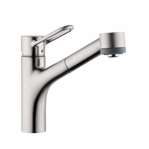 Hansgrohe 04704 Talis Loop Single Handle Pull-Out Spray Kitchen Faucet with Lock, Steel Optik by Hansgrohe