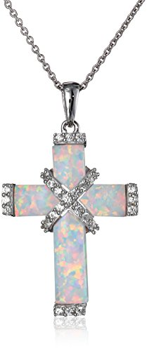 Sterling Silver Created Opal Cross Pendant Necklace, 18