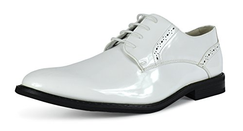 Bruno Marc Men's Prince-16 White Pat Leather Lined Dress Oxfords Shoes Size 14 M US