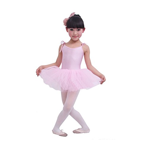 Panda Superstore [PINK] Lace Up Plain Ballet Dress Lycra Child Ballet Leotard Tutu,110cm