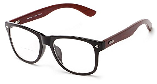 Readers.com The Fitzgerald Recycled Wood Bifocal +2.50 Black/Brown Recycled Wood Bifocal Retro Square Reading - Recycled Reading